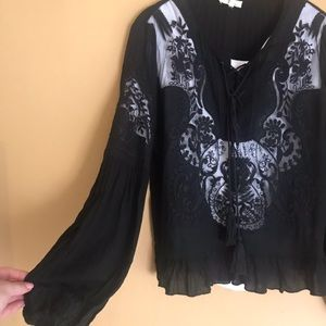 Lace embroidered peasant top